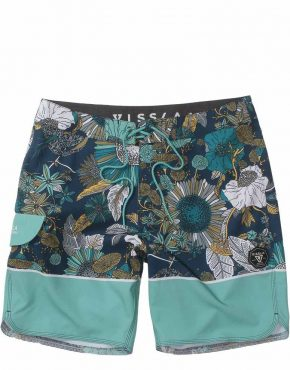 vissla green shorts with floral pattern